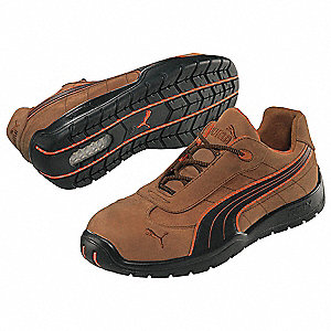 "4""H Men's Athletic Style Work Shoes, Steel Toe Type, Leather Upper Material, Brown/Black, Size 5"