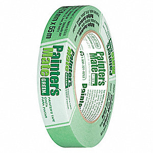 Paper Masking Tape, Rubber Tape Adhesive, 5.40 mil Thick, 24mm X 55m, Green, 1 EA