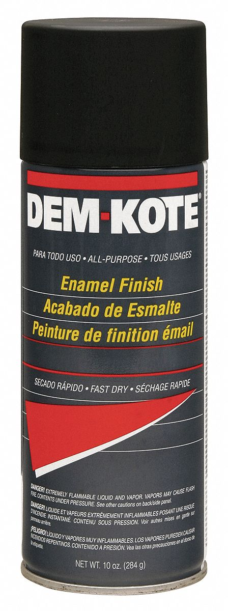 Dem-Kote Spray Paint in Flat Black for Concrete, Masonry, Metal, Wood, 10 oz