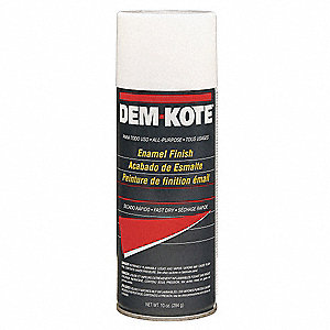 Dem-Kote Spray Paint in Gloss White for Concrete, Masonry, Metal, Wood, 10 oz.