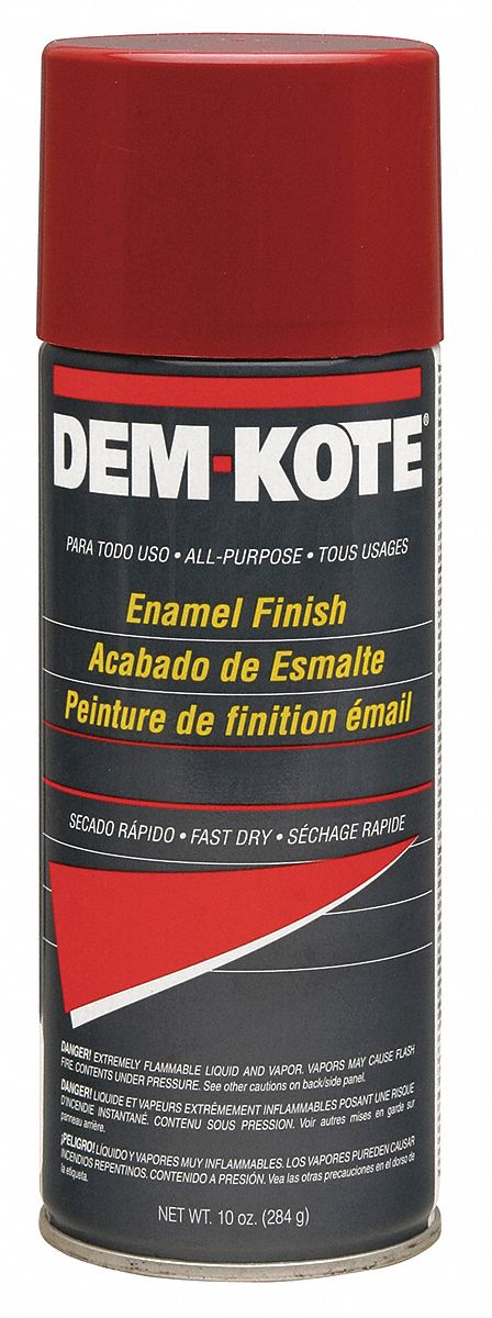 Dem-Kote Spray Paint in Gloss Safety Red for Concrete, Masonry, Metal, Wood, 10 oz