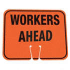 TRAFFIC CONE SIGN,ORG/BLK,WORKERS AHEAD