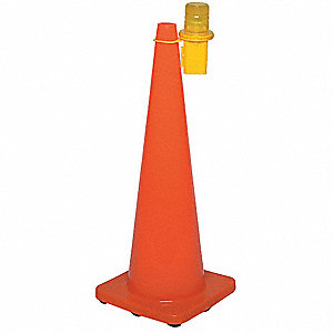 "Cone Light, 3"" Head Dia., Amber, Battery"