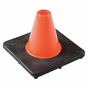 "Traffic Cone, 6"" Cone Height, Orange, PVC"
