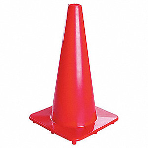 "Traffic Cone, 18"" Cone Height, Orange, PVC"