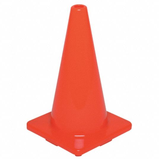 Traffic Cone, 18 in Cone Height, Orange, PVC