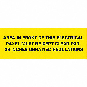 "Electrical Hazard, No Header, Polyester, 10"" x 14"", Adhesive Surface, Not Retroreflective"
