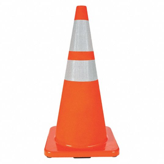 Traffic Cone, 28 in Cone Height, Orange, PVC