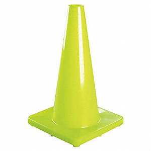 "TRAFFIC CONE,18"" H,FLUORESCENT LIME"