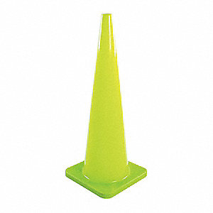 "Traffic Cone, 36"" Cone Height, Fluorescent Lime, PVC"