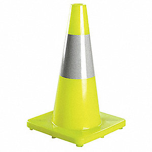 "Traffic Cone, 18"" Cone Height, Fluorescent Lime, PVC"