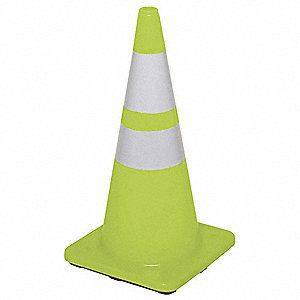 "Traffic Cone, 28"" Cone Height, Fluorescent Lime, PVC"