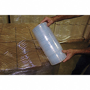 "Stretch Wrap, Hand Dispensed, 1-Side Cling, Standard, 12"" x 1500 ft., Gauge: 90, Clear"