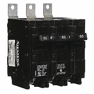 Bolt On Circuit Breaker, 60 Amps, Number of Poles:  3, 240VAC AC Voltage Rating