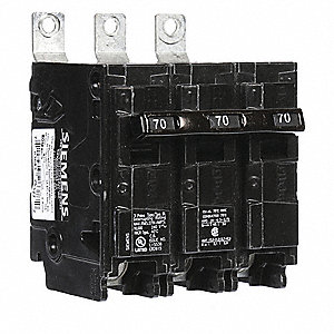 Bolt On Circuit Breaker, 70 Amps, Number of Poles:  3, 240VAC AC Voltage Rating