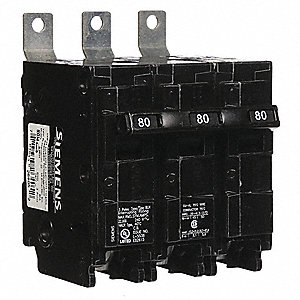 Bolt On Circuit Breaker, 80 Amps, Number of Poles:  3, 240VAC AC Voltage Rating