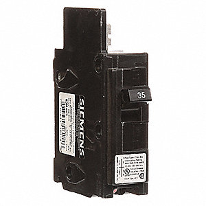 Bolt On Circuit Breaker, 35 Amps, Number of Poles:  1, 120/240VAC AC Voltage Rating