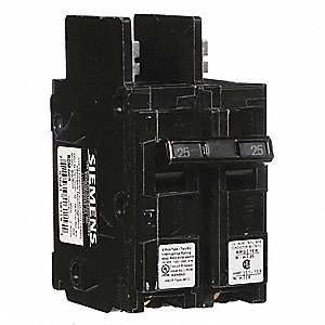 Bolt On Circuit Breaker, 25 Amps, Number of Poles:  2, 120/240VAC AC Voltage Rating