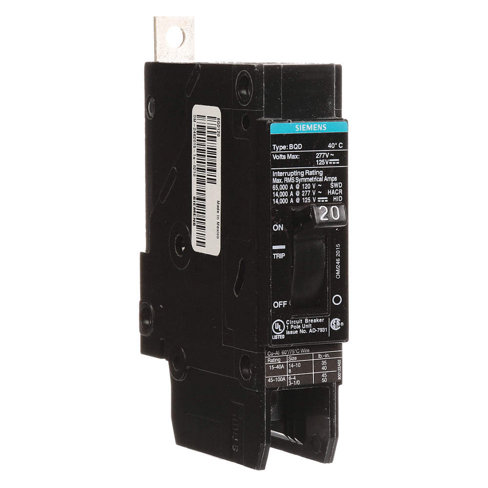 SIEMENS Bolt On Circuit Breaker, 20 Amps, Number of Poles: 1, 277VAC ...