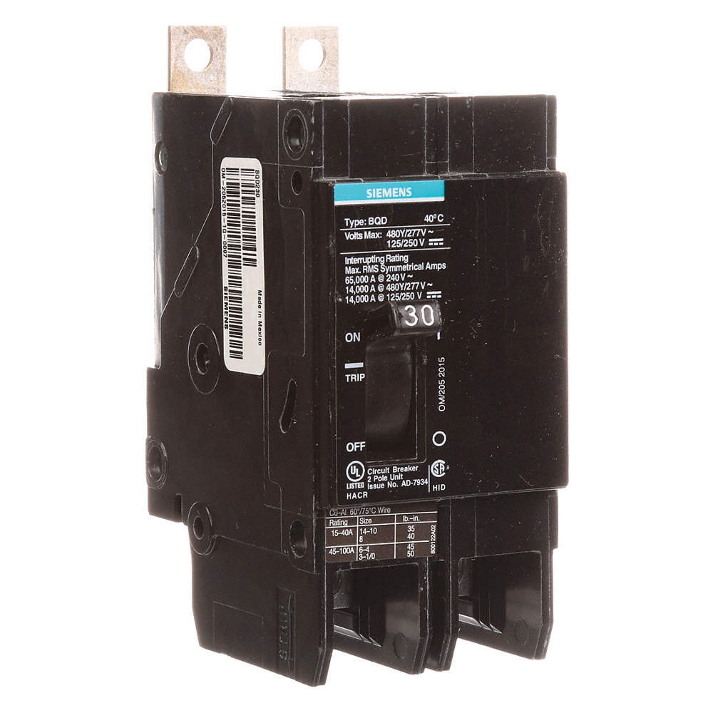 SIEMENS Bolt On Circuit Breaker, 30 Amps, Number of Poles: 2, 277 ...