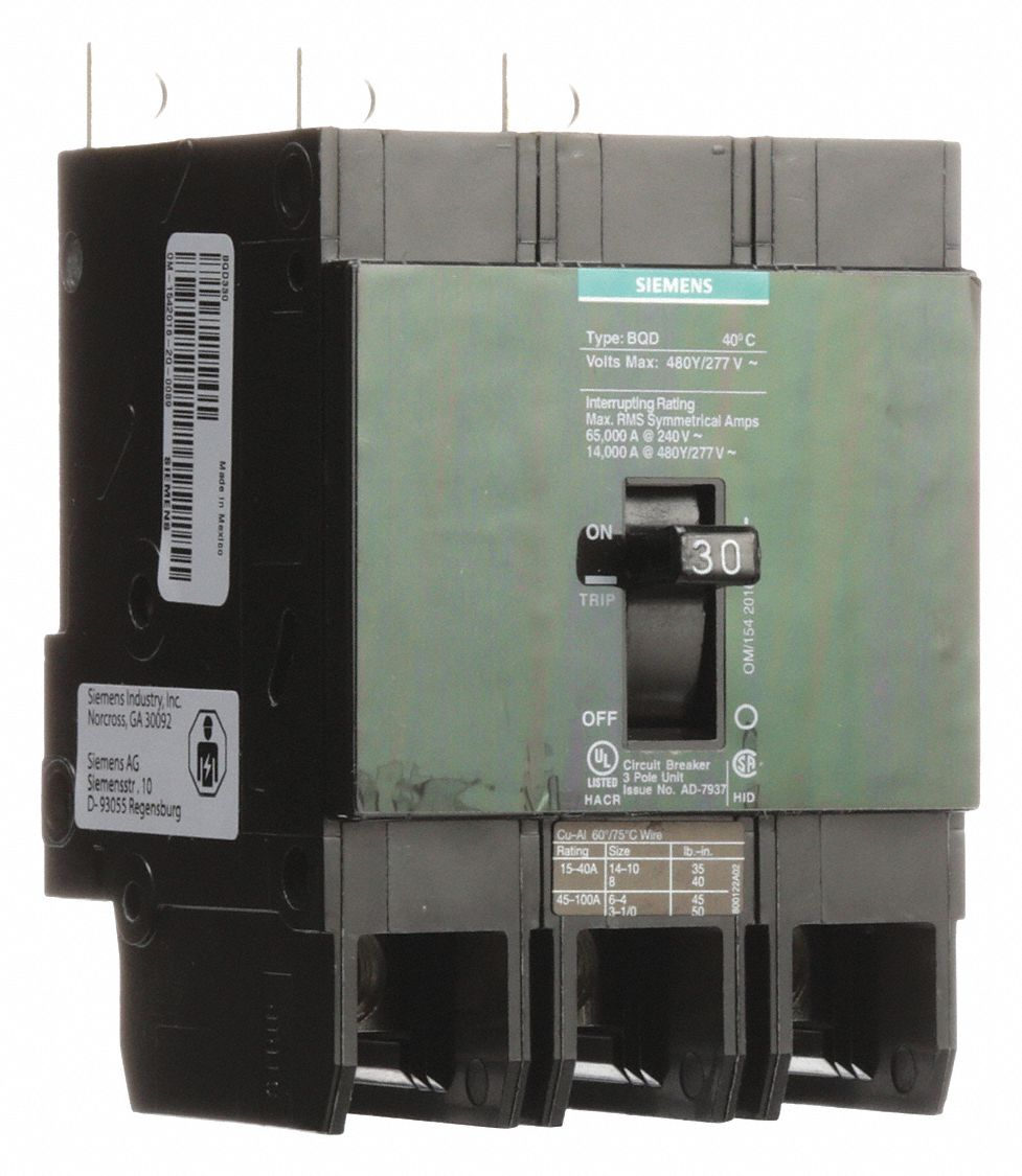 SIEMENS Bolt On Circuit Breaker, 30 Amps, Number of Poles: 3, 277 ...