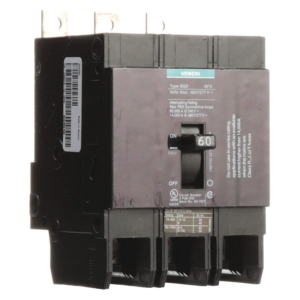 Siemens BQD360 3 Pole 60A 480V Circuit Breaker