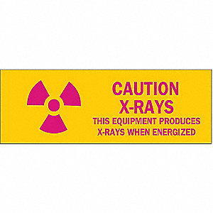 "Radiation and X-Ray, Caution, Polyester, 2-1/4"" x 2-1/4"", Adhesive Surface, Not Retroreflective"
