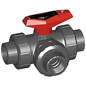 BALL VALVE,3WAY,1/2 IN,FNPT,PVC
