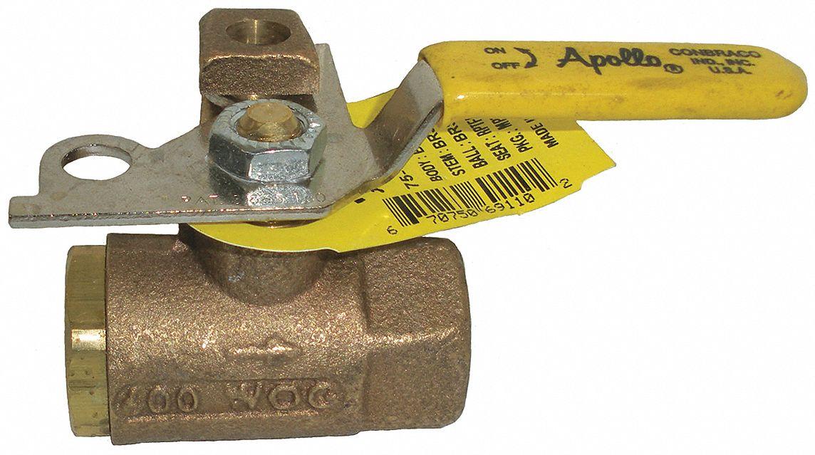 Brass FNPT x FNPT Ball Valve 3//4 Pipe Size Locking Lever
