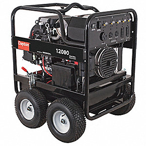 Portable Generator, 120/240VAC Voltage, 12,000 Rated Watts, 19,600 Surge Watts, 100/50 Amps @ 120/24
