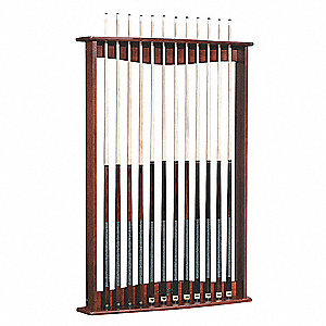 Cue Wall Rack,6x11x56 In.,Mahogany