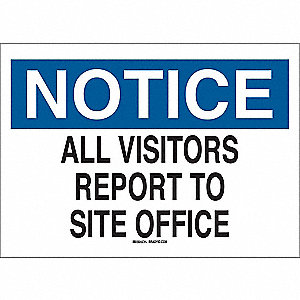 "Employees and Visitors, Notice, Plastic, 18"" x 24"", Surface, Not Retroreflective"