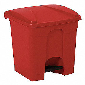 "8 gal. Square Flat Top Utility Wastebasket, 18-1/4""H, Red"