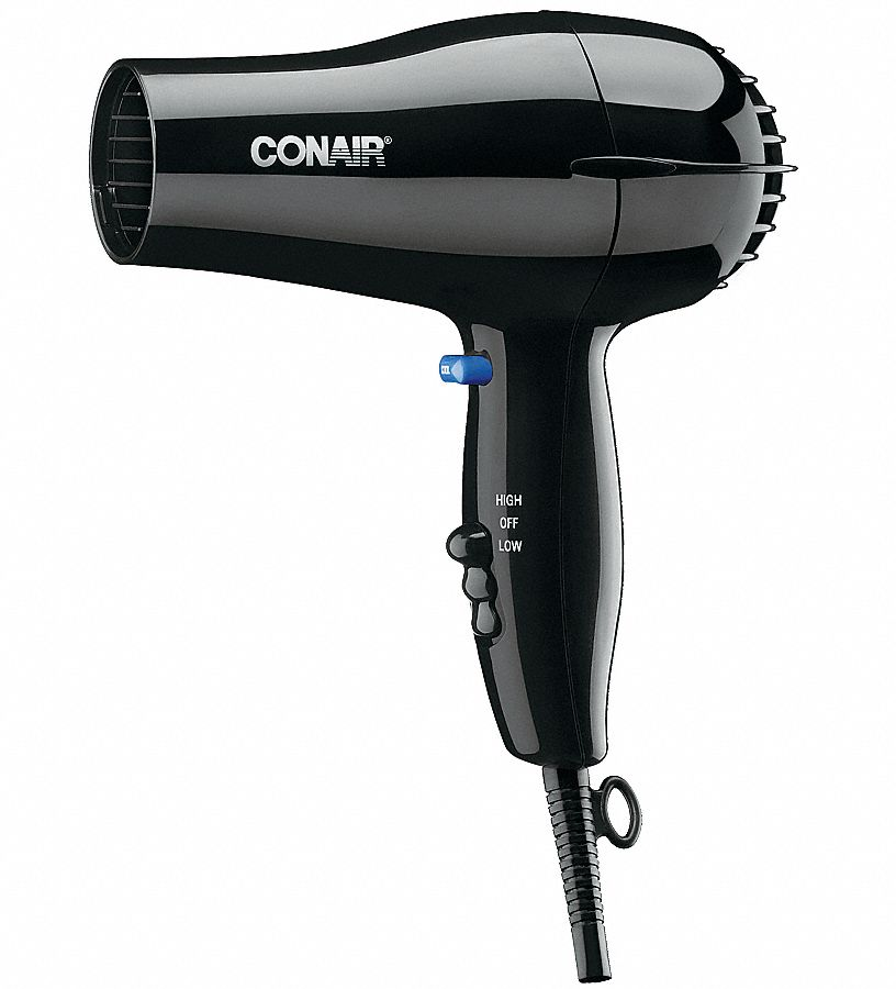 The Conair Watt Compact Hair Dryer with Folding Handle is perfect for storage in small spaces Lightweight and portable 2 heat / speed settings for all hair types. foot power cord.