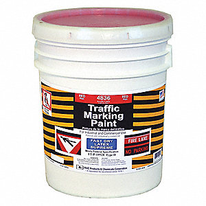 Latex Acrylic-Base Traffic Zone Marking Paint, Red, 18.9L