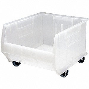 "Mobile Hopper Bin, Clear, 14""H x 23-7/8""L x 16-1/2""W, 1EA"