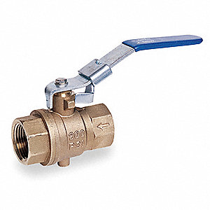 "Brass FNPT x FNPT Ball Valve, Locking Lever, 1/2"" Pipe Size"
