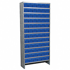 "Steel Enclosed Bin Shelving with 72 Bins, 36""W x 12""D x 79""H, Load Capacity: 8500 lb., Gray"