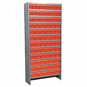 "Enclosed Shelving Unit With Bins, 79"" Overall Height, 36"" Overall Width"