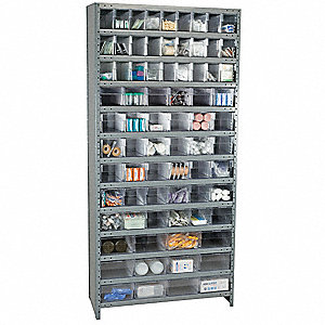 "Steel Enclosed Bin Shelving with 75 Bins, 36""W x 12""D x 79""H, Load Capacity: 8500 lb., Gray"