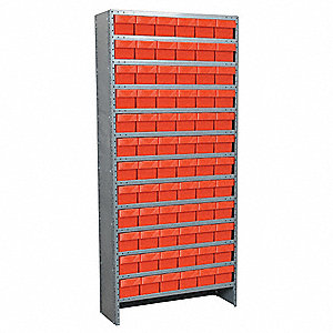 Enclosed Shelving Unit With Bins,Red