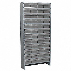"Steel Enclosed Bin Shelving with 48 Bins, 36""W x 18""D x 79""H, Load Capacity: 8500 lb., Gray"