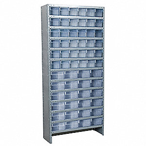 "Steel Enclosed Bin Shelving with 60 Bins, 36""W x 18""D x 79""H, Load Capacity: 8500 lb., Gray"