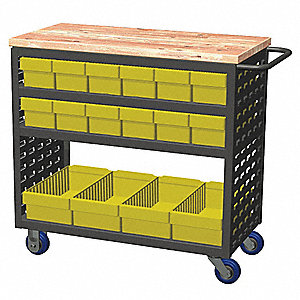 "36""H x 18-1/2""W Steel Louvered Cart, 800 lb. Load Capacity, Total Number of Bins: 16"