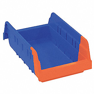 "Shelf Bin, Blue/Orange, 4""H x 11-5/8""L x 6-3/4""W, 1EA"