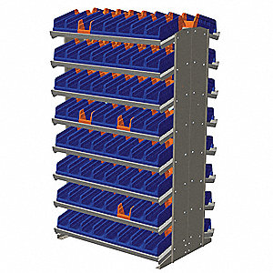 "Steel Pick Rack with 128 Bins, 36-3/4""W x 24""D x 60-1/4""H, Load Capacity: 800 lb., Gray"