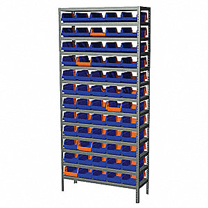 "Bin Shelving,79"" H,60 Bins,Blue/Orange"