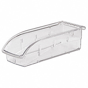 "Hang and Stack Bin, Clear, 10-7/8"" Outside Length, 4-1/8"" Outside Width, 3-1/4"" Outside Height"