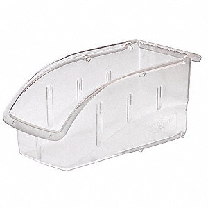 "Hang and Stack Bin, Clear, 10-7/8"" Outside Length, 5-1/2"" Outside Width, 5-1/4"" Outside Height"