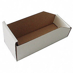 "Corrugated Shelf Bin, 100 lb. Test Rating, White, 4-3/4""H x 11""L x 16-1/4""W, 1EA"